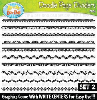 Doodle Page Divider Clipart Set 2 — Includes 10 Graphics!