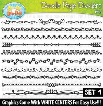 Doodle Page Divider Clipart Set 4 {Zip-A-Dee-Doo-Dah Designs}