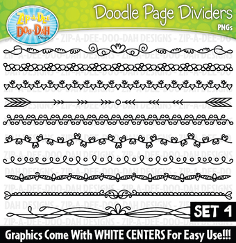 Doodle Page Divider Clipart Set 4 — Includes 10 Graphics!