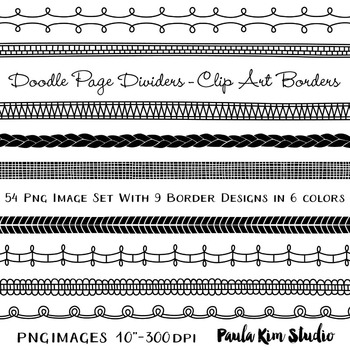 Doodle Page Dividers, 5 Colors Included Plus Gold Glitter Bonus