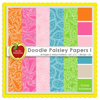 Doodle Paisley I {Papers for Commercial Use}