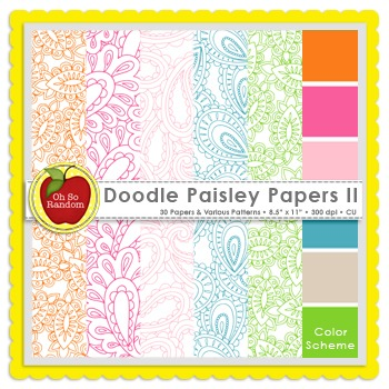 Doodle Paisley II {Papers for Commercial Use}