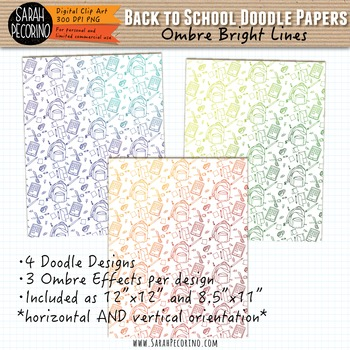 Doodle Paper: Back to School Ombre Bright Lines