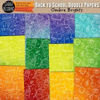 Doodle Paper: Back to School Ombre Brights