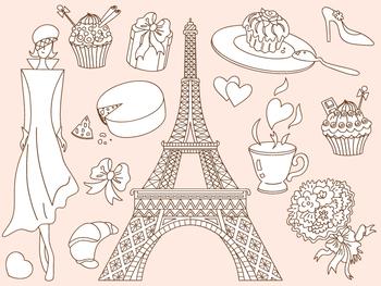 Doodle Paris Clipart - Digital Vector Paris, Eiffel Tower,