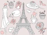Doodle Paris Clipart - Digital Vector Paris, Eiffel Tower, Paris Clip Art