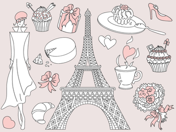 Doodle Paris Clipart - Digital Vector Paris, Eiffel Tower, Paris Clip Art
