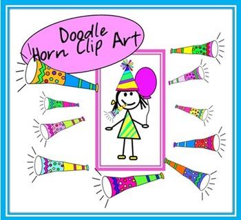 Doodle Party Horns Clip Art
