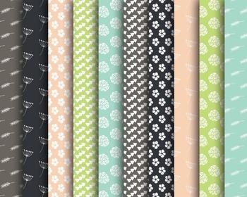 Doodle Pattern Papers, Digital Paper, Flower Papers, Doodle Pattern Set #036