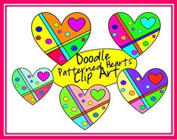 Doodle Patterned Hearts Clip Art