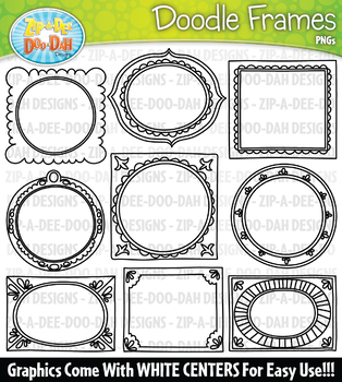 Doodle Picture Frames Clipart Set 1 {Zip-A-Dee-Doo-Dah Designs}