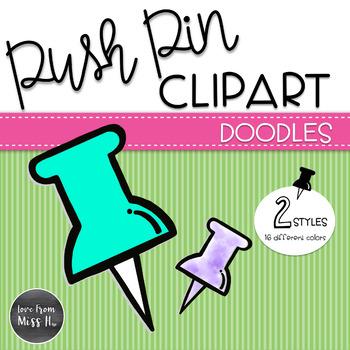 Doodle Push Pin Clipart