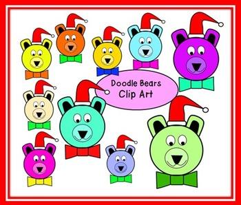 FREE Doodle Santa Bears Clip Art