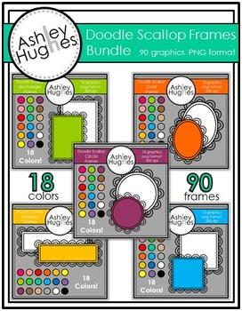 Doodle Scallop Frames Bundle {Graphics for Commercial Use}