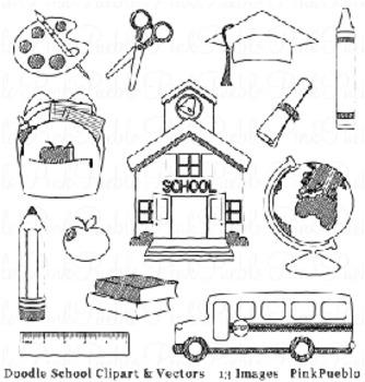 Doodle School, Graduation and Teacher Clip Art Clipart - Commercial/Personal Use