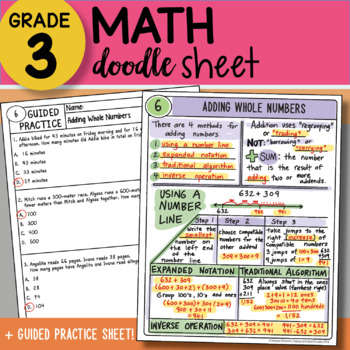 Doodle Sheet - Adding Whole Numbers - So EASY to Use! ~ PPT Included