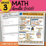 Doodle Sheet - Composing and Decomposing Fractions - EASY to Use Notes!