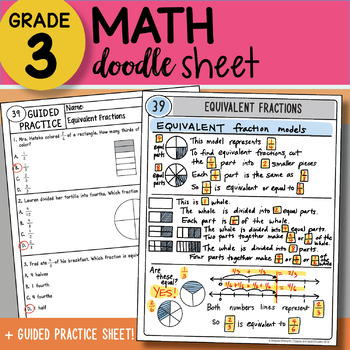 Doodle Sheet - Equivalent Fractions - EASY to Use Notes with PPT!