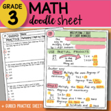 Doodle Sheet - Multiplying 2 Digit by 1 Digit Numbers - EASY to Use Notes