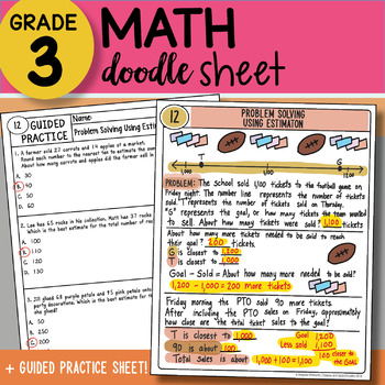 Doodle Sheet - Problem Solving Using Estimation - EASY to Use Notes - with PPT