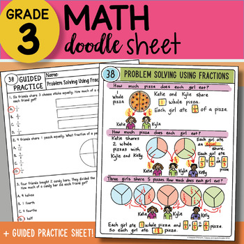 Doodle Sheet - Problem Solving Using Fractions - EASY to Use Notes w/PPT