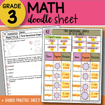 Doodle Sheet - Two Dimensional Shapes Up to 12 Sides - Easy Notes w PPT!