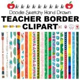 Doodle Sketchy, Hand Drawn Teacher Border Clipart Frames B