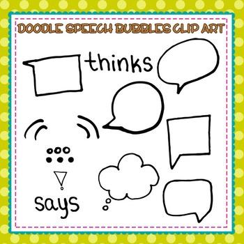 Doodle Speech Bubbles Clip Art