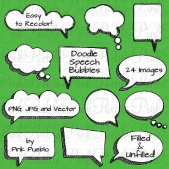 Doodle Speech Bubbles Clip Art - Commercial and Personal Use