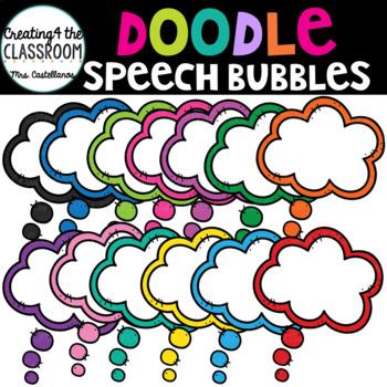 Doodle Speech Bubbles {Speech Bubble Clip Art}