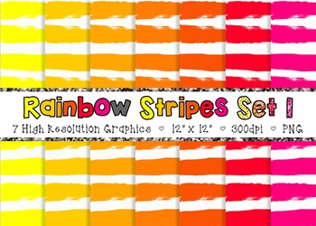 Doodle Stripes Digital Paper Pack Rainbow Colors - Set 1 {Commercial Use}