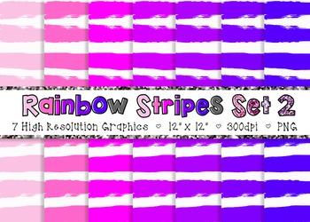 Doodle Stripes Digital Paper Pack Rainbow Colors - Set 2 {Commercial Use}