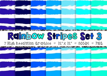 Doodle Stripes Digital Paper Pack Rainbow Colors - Set 3 {