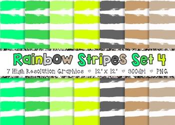 Doodle Stripes Digital Paper Pack Rainbow Colors - Set 4 {Commercial Use}