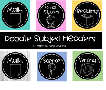 Doodle Subject Headers (Editable and PDF Versions!)