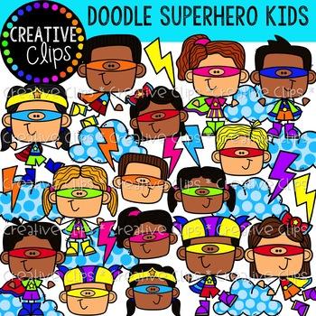 Doodle Superhero Kids {Creative Clips Clipart}