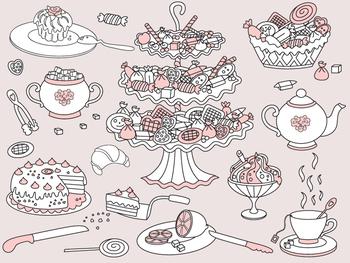 Doodle Tea Clipart - Digital Vector Tea, Sweets, Tea Time,