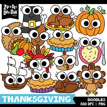 Doodle Thanksgiving Clipart Set {Zip-A-Dee-Doo-Dah Designs}