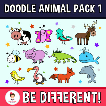 Doodle Animal Clipart Pack 1