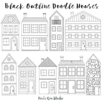 Doodle Townhouse Clipart Set, Black Outline