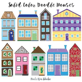 Doodle Townhouse Clipart Set, Color