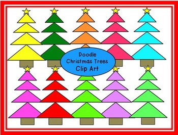 Doodle Triangle Christmas Trees Clip Art