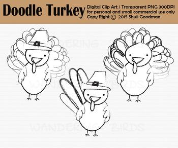 Doodle Turkey clip art, Thanksgiving clipart