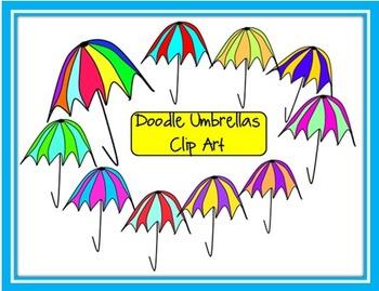 Doodle Umbrellas Clip Art
