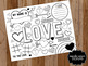 Doodle Valentine Digital Coloring Page - Place mat