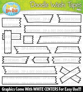 Doodle Washi Tapes Clipart Set {Zip-A-Dee-Doo-Dah Designs}