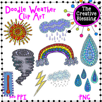 Hand Drawn Doodle Weather Clip Art  Graphics
