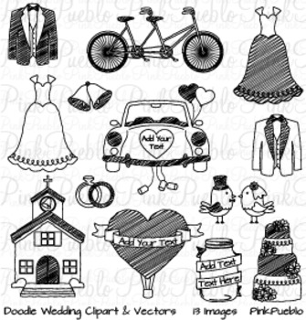 Doodle Wedding Clip Art Clipart - Commercial and Personal Use