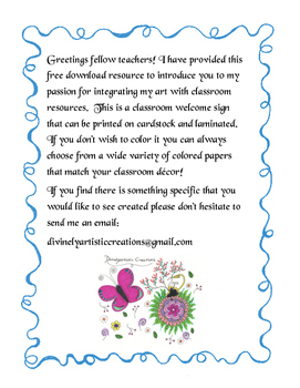 Doodle Welcome Sign Freebie!!