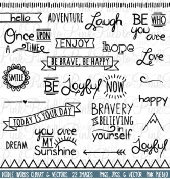 Doodle Words and Inspirational Phrases Clip Art - Commercial and Personal Use